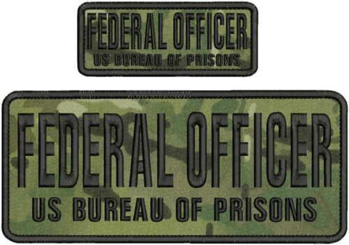 FEDERAL OFFICER US BUREAU OF PRISONS EMB PATCH 4X10&2X5 HOOK ON BACK MULTIC/BLK