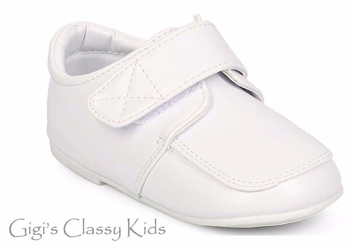 Baby Toddler Boys White Dress Shoes Christening Baptism Dedi
