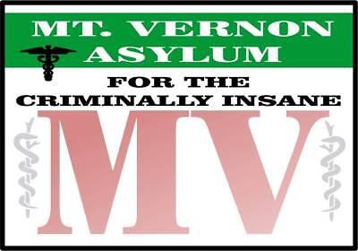 HALLOWEEN HORROR Movie Mt. Vernon Asylum STICKER/DECAL - 9 x - Halloween Asylum Props