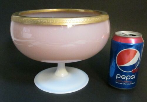 Vintage French Opaline Pink White Glass Gold Ormolu Pedestal Footed Bowl Compote