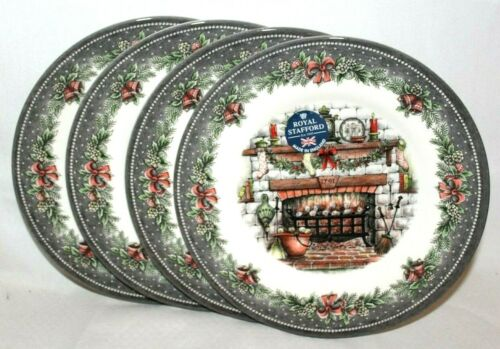 Royal Stafford Country Home Fireplace Christmas Holiday Salad Plates Set of 4