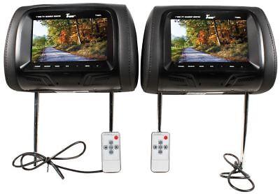 "Tview T726PL-BK 7"" Black Pair (2) LCD Car Headrest TV Monitor w/ IR Transmitter"