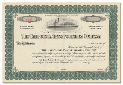 California Transportation Company Stock Certificate (Sacramento River)