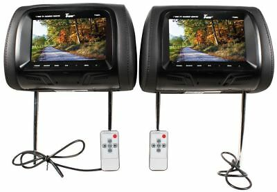 "Tview T726PL-BK 7"" Black Pair (2) LCD Car Headrest TV Monitor w/ IR Transmitter"