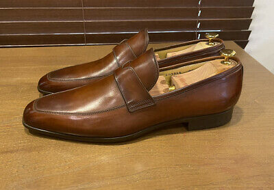 Santoni Quinlan Loafers, Tobacco Brown, Slip on, Leather, Patina, 11 D M