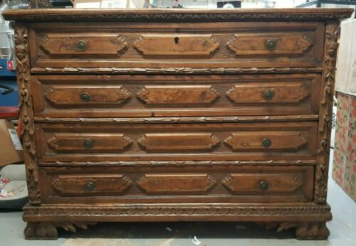Antique 17th century handcarved Italian walnut chest / commode / dresser
