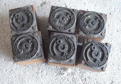 Lot Of 6 Vintage De Chapter Member Wood Metal Letterpress Print Block Stamp