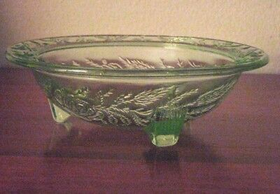 "U S Glass  Rose & Thorn Green  3 Toed Footed  Bowl 5"" Diameter Set of 3"