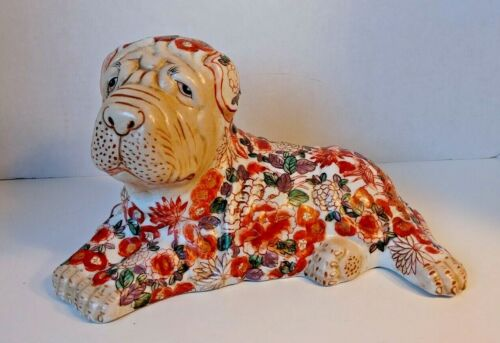 """Vintage Chinese Ceramic Hand Painted  Shar Pei  Dog Figure Figurine  13"""" L"""