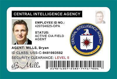 TAKEN (Movie) Bryan Mills CIA ID Card / Badge Prop - Liam Neeson   PVC PLASTIC