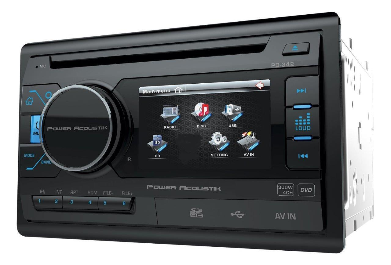 Power Acoustik Double Din PD 342 CD/DVD/MP3 Player 3 4\ LCD Display USB AUX New