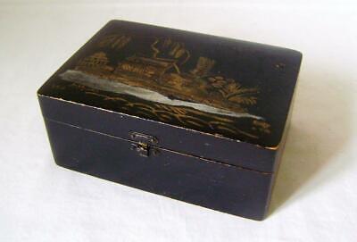 Vintage Black Japanned Wooden Box with raised gesso rockwork on lid.