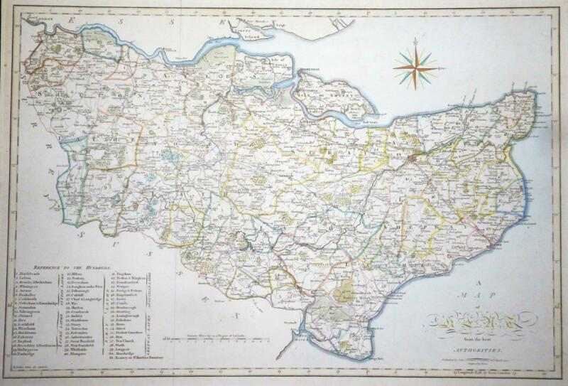 1805 - Large Original Antique Map of KENT by CARY / STOCKDALE Colour (LM4) 2