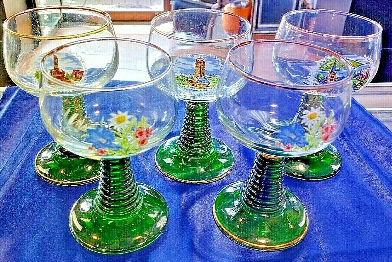 SET OF 5 FELDBERG SCHWARZWALD  GREEN BASE WINE GLASSES