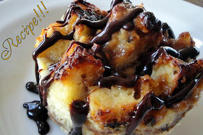 Peanut Butter Banana Bread Pudding With Chocolate Caramel Sauce  Recipe  Devine