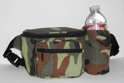 GREEN CAMOUFLAGE COTTON FANNY PACK WITH WATER BOTTLE HOLDER