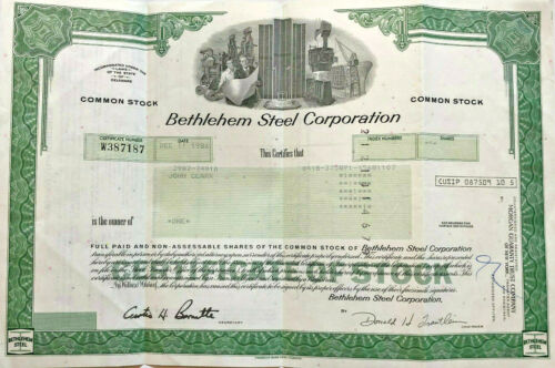 Bethlehem Steel Corporation > 1986 manufacturing stock certificate