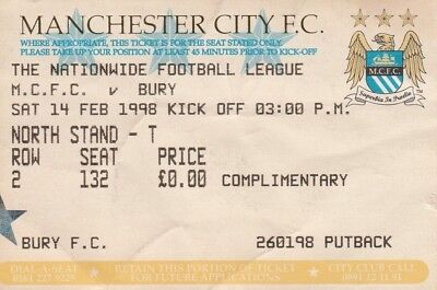 Ticket - Manchester City v Bury 14.02.98