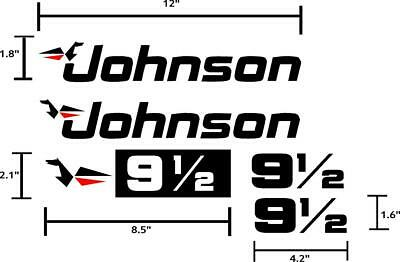 Outboard Motor Decals (Johnson Outboard 9.5hp motor decals stickers graphics. 5 piece)