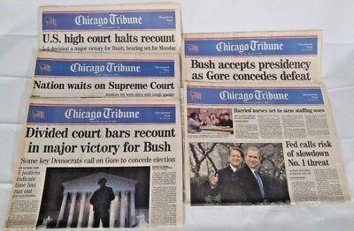 Chicago Tribune  Bush   Gore Recount   Lot Of  5  Newspapers December  2000