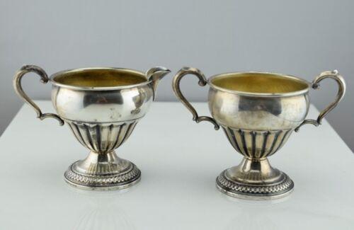 Antique Sterling Silver Gadrooned Sugar Bowl & Creamer Set 13A