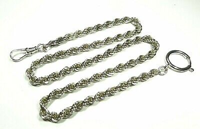 VINTAGE POCKET WATCH HOLDER 5mm TWISTED CHAIN SWIVEL CLASP STERLING SILVER HEAVY