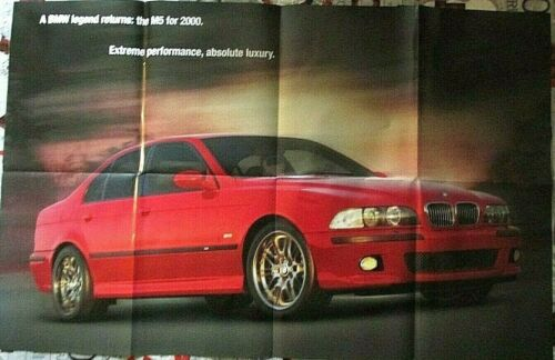 """BMW 2000 M5 POSTER BROCHURE FULL COLOR PRODUCT LINE UNFOLDED SIZE 34""""x21"""" NEW"""