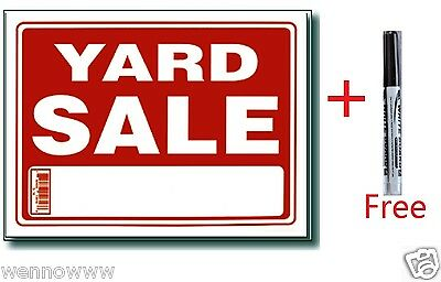 10 Pcs 9 X 12 Inch Plastic Yard Sale Sign With A Free Erasable Marker