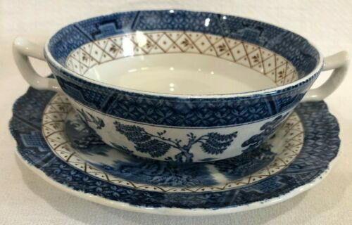 Booths REAL OLD WILLOW Blue & White Cream Soup Bowl Dish & Saucer Set A8025