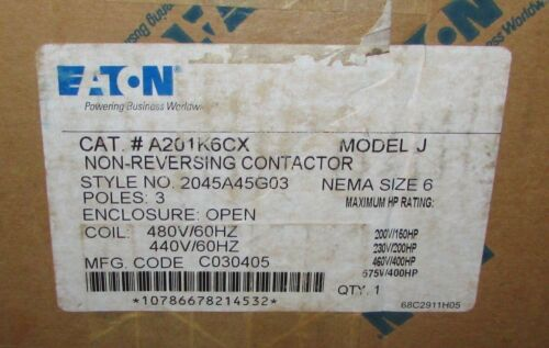 EATON CUTLER HAMMER A201K6CX A200 Size 6 Model J Contactor 150-400 HP 2045A45G03