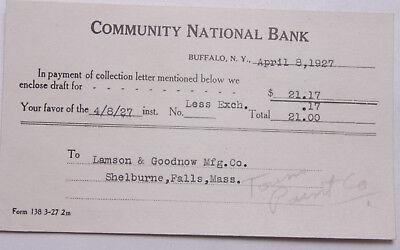 1927 Lamson Goodnow Community National Bank Buffalo Ny Ephemera L902d