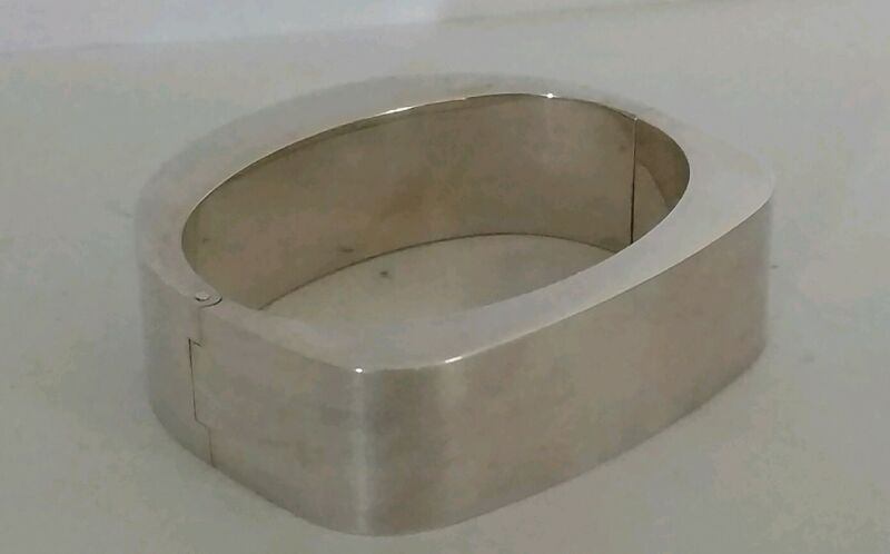 """Vintage Mexico Jondell 925 Silver Wide Heavy Hollow Hinged Bangle Bracelet 7"""""""