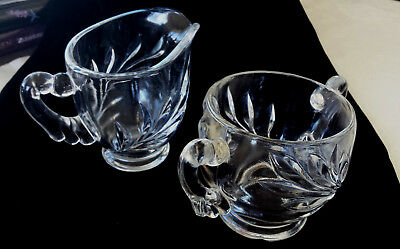 Creamer Open Sugar Indiana clear glass WOM Willow Oleander Magnolia deep cut 30s