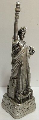 Large 12  Silver Statue Of Liberty Figurine W Flag Base And Nyc Skyline From Nyc