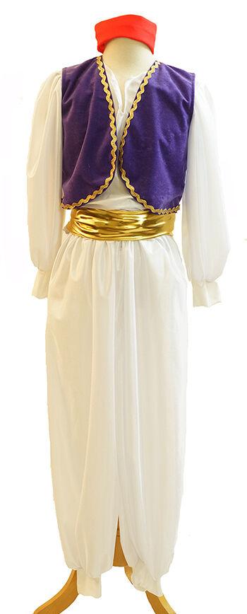 Aladdin Panto Unisex New Arabisch Genie mit Rotem Hut Kostüm Jedes Alter &