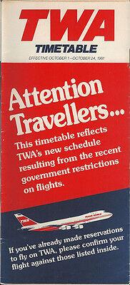 TWA system timetable 10/1/81 [308TW] Buy 2 Get 1 Free