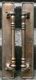 Pair Antique 1920s Bronze Brass Door Pulls Handles Victorian Letterbox Knocker