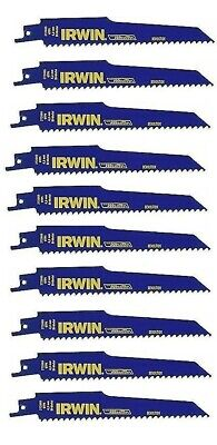 IRWIN 10-Pack 6-in 6-TPI Wood/Nail Cutting Reciprocating Saw Blade 1908380 NEW Nail Cutting Blade