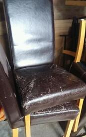 6 real leather dining chairs oak legs