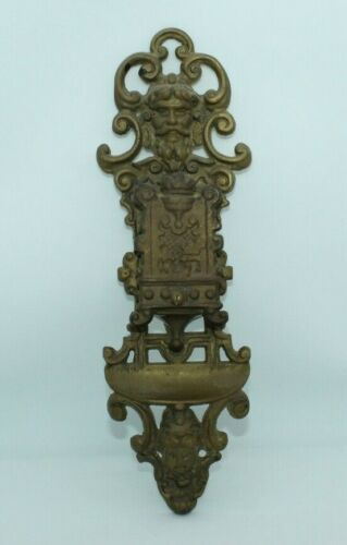 Antique Victorian Style Wall Mounted Ornate Brass Matchbox Holder