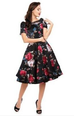 Dotty Flower (Dolly & Dotty Vintage 50s Swing Dress Black Flower Rockabilly BNWT Size 12 Prom)