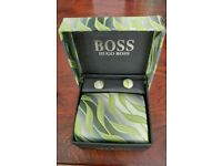 Hugo Boss silk tie & cuff links boxed gift set