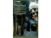 Twin pack rechargeable 8 LED touch and 3 LED wind up torch with twin superbright LED strip light