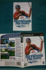 PS2 playstation 2 game cover & booklet - Tiger Woods PGA Tour 2001. Ok cond.