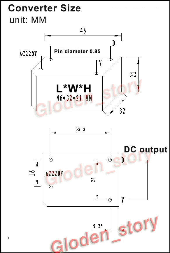Details about AC-DC Converter Switching Power Supply Module AC 110V 220V  230V to 3 3V 1 3A 5W