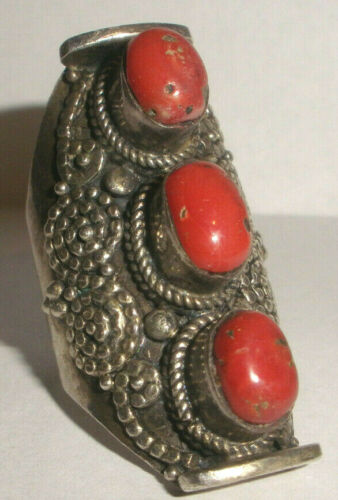 Antique Tibetan Tribal Jewelry  Large Sterling Silver Saddle coral Ring size 10