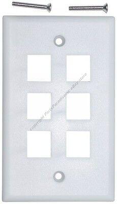 Keystone flush Wall face Plate 6/Six mount/mounting Hole/Jack/Port {WHITE/WH
