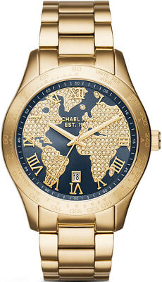 Michael Kors  MK6243 Layton Blue Gold Tone Crystal Pave Dial Watch