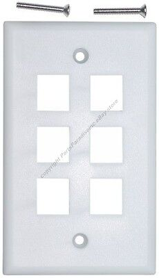 Lot500Keystone flush Wall face Plate6/Six mount/mounting Hole/Jack/Port{WHITE/WH