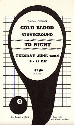 ORIGINAL / SCARCE MINTY COLD BLOOD with STONEGROUND - PORTLAND CONCERT HANDBILL